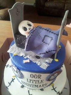 Nightmare Before Christmas Baby Shower Cake Topper. Welcome Baby. Fondant.