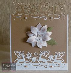 Angela Clerehugh - Die'sire Christmas Edge'ables – Reindeer Dance, Centura Pearl Card – White & Mink, Die'sire Poinsettia Die, Rhinestone Crystals, Pearls, Crafter's Companion Tape Pen, Collall 3D Glue Gel - #crafterscompanion #Christmas