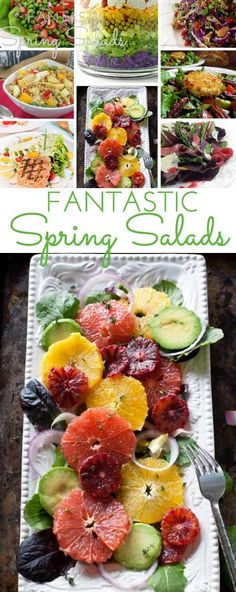 Fantastic Spring Salad Recipes with delicious homemade dressings from bloggers around the country. Crunchy, healthy, flavorful and delicious!