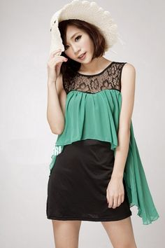 Fashion Sleeveless Color Matched Chiffon Dress Jade on BuyTrends.com, only price $15.00