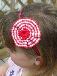 Red Gingham Rosette headband with Grosgrain by Flossieblossom77, $4.00
