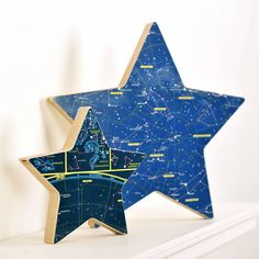 Personalised Constellation Map Star Ornament. A free-standing star faced in vintage constellation map which can be personalised with your choice of engraving on the reverse.