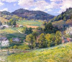Hand painted oil painting reproduction on canvas of Spring in the valley by artist Willard Metcalf as gift or decoration by customer order. Spring Landscape, Landscape Art, Landscape Paintings, Landscapes, Imagen Natural, American Impressionism, Pierre Auguste Renoir, Museum Of Fine Arts, Plein Air