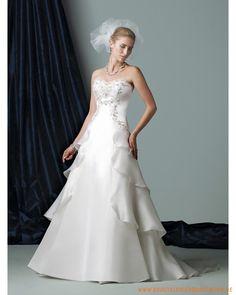 2013 neues Brautkleid aus Organsin herzförmiger Ausschnitt mit besticktem Korsett und geschichtete Falten auf dem Rücken