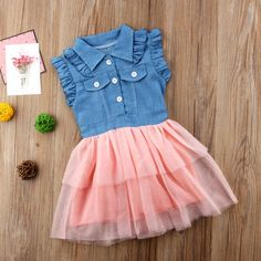 02e00b633cd Princess Summer Toddler Kids Baby Girls Denim Lace Country Dress. Noah s  Boytique