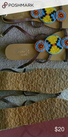 Shoes Beaded Indian style flat sandals, upper leather, so cute for summer! N.Y.L.A. Shoes Sandals