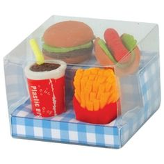 Fast Food Eraser by Toysmith. $3.68. The Fast Food Puzzle Eraser Set comes with four deliciously cute miniature erasers, including a hamburger, hot dog, soda, and a box of fries. These unique erasers can be used to erase little mistakes, but they're also fun to collect. You can even take apa