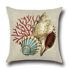 Ocean Theme Squre Cotton Linen Throw Pillow Cushion Cover Case Conch Shell Cotton Linen Square Sofa Throw Pillow Case Cushion Cover Home Decor 18 X 184 Styles can choose conch style4 *** To view further for this item, visit the image link. Note: It's an affiliate link to Amazon