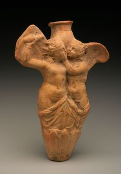 Clay Flask with Eros and Psyche        Egypt, said to be from Alexandria          1st century B.C.-1st century A.D.