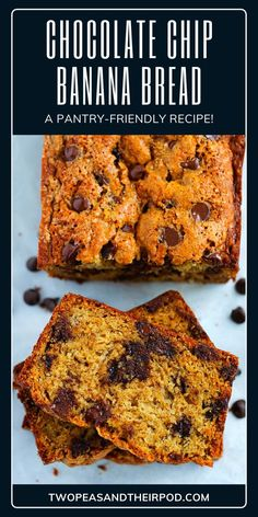 A quick bread recipe that is soft with the right amount of sweetness and full of banana flavor! This chocolate chip banana bread recipe is the best easy breakfast idea or snack. Your family will surely love this recipe! Moist Chocolate Chip Muffins, Super Moist Banana Bread, Chocolate Chip Banana Bread, Chocolate Chip Recipes, Easy Bread Recipes, Banana Bread Recipes, Quick Bread, Easy Breakfast Muffins, Homemade Muffins