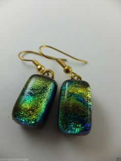 Dichroic Glass Earrings with Gold Surg Steel Hooks * GOLD BLUE CHARISMA * by Cheryl Smith