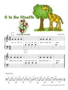 This free beginning piano music uses just two notes, G and middle C. There are small squares so you can add your own finger numbers. A teachers duet is included. This song is part of a set of beginning music printables using animals to learn notes on the staff and can be used in piano lessons and music education.