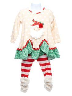 Toddler Girl Appliquéd Santa Tunic with Leggings