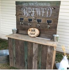 """Wedding bar built by KegWorks Customer Anthony Rubolotta. His words - """"Thank you KegWorks for the inspiration and the equipment used to build our Wedding Beer Bar. A huge success! Pallet Wedding, Diy Wedding, Wedding Ideas, Craft Beer Wedding, Snowy Wedding, Wedding Props, Wedding Card, Rustic Wedding, Outside Bars"""