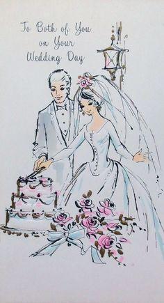 Vintage 1960's Wedding Card
