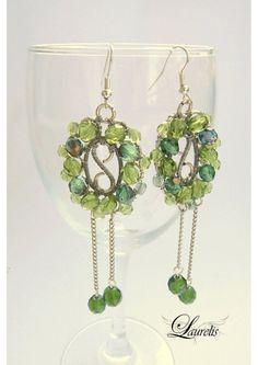 Green oval earrings  silverplated by Laurelisbijoux on Etsy, $19.99