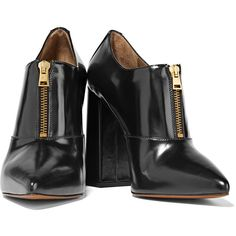 Marni - Glossed-leather Ankle Boots (4.417.260 IDR) ❤ liked on Polyvore featuring shoes, boots, ankle booties, black leather ankle booties, black high heel booties, leather booties, black boots and black ankle booties