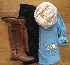 chambray shirt skinnies tan high boots infinity cowl scarf bracelet stack