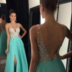 Long V Neck Prom Dress with Side Slit