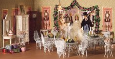 Dollhouse Dining Rooms -  by dheminis    A beautiful reception awaits the bridal party.
