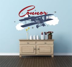 Airplane Name Decal  Personalized Airplane Clouds Airplane Nursery Name Decal Airplane Decor Airplane Nursery Plane Decal - WD0076 & Airplane Wall Decal Personalized Airplane Name Decal Airplane ...