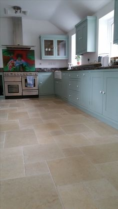 The Warm Gold Tones Of The Salem Gold Tumbled Limestone Are The Perfect Partner To Dad S Kitchenkitchen Flooringkitchen