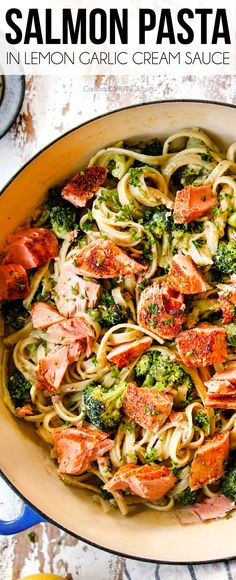 Salmon Pasta bathed in a creamy lemon pesto sauce is irresistibly delicious and on your table in 30 minutes! Salmon Pasta bathed in a creamy lemon pesto sauce is irresistibly delicious and on your table in 30 minutes! Creamy Salmon Pasta, Salmon Pasta Recipes, Pesto Salmon, Healthy Salmon Recipes, Fish Recipes, Seafood Recipes, Dinner Recipes, Cooking Recipes, Baked Salmon