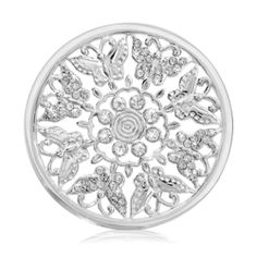 Nikki Lissoni Butterfly Garden Coin (large, silver tone, clear Swarovski® Elements)