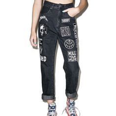 Disturbia Mosh Jeans featuring polyvore, women's fashion, clothing, jeans, high rise jeans, high-waisted jeans, highwaist jeans, zipper jeans and high waisted jeans