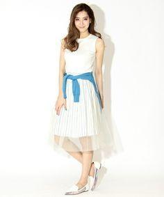 FRAY I.D(フレイ アイディー)のストライプチュールスカート(スカート) ホワイト×ブルー
