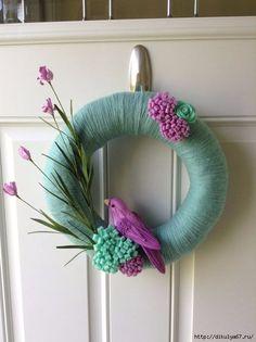 Summer Wreath -Spring Wreath - Felt flower wreath - Yarn Wrapped Wreath - Bird Wreath - Mint and Purple Wreath For Deb- blue bird, yellows and dark green flowers, blue yarn Felt Flower Wreaths, Felt Wreath, Wreath Crafts, Diy Wreath, Felt Flowers, Felt Crafts, Diy And Crafts, Spring Flowers, Yarn Wreaths