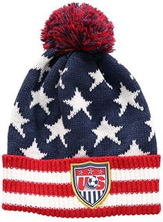 U.S. Soccer Football Official Merchandise Men s USA Ski Hat Peruvian Pompom  Beanie One Size White Red Blue at Amazon Men s Clothing store  129d04f75