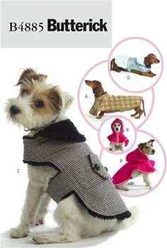 Butterick 4885 Dog Coats Clothes Sewing Pattern XS s M L Fits Dachshund Others | eBay