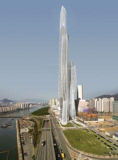 Asymptote Architecture, Millennium Tower Business Centre (WBCB), Busan, South Korea, high rise, skyscraper design, double façade, pluralism, branching structures
