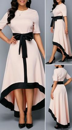 Zipper Back Belted High Low Dress Source by Bemicana dresses summer Stylish Dresses, Elegant Dresses, Pretty Dresses, Casual Dresses, Romantic Dresses, Sexy Dresses, Summer Dresses, Formal Dresses, Wedding Dresses