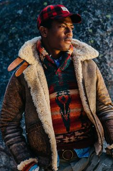 summer mens fashion which is fabulous:) Shearling Jacket, Leather Jacket, Dope Jackets, Preppy Mens Fashion, Fashion Fall, Fashion Boots, Farm Clothes, Ralph Lauren Style, Stylish Shirts