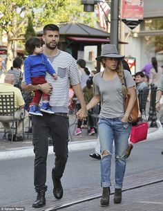 Shakira and her partner Gerard Pique take son Milan to the mall #dailymail