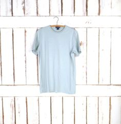 Vintage basic pale blue cotton tshirt/minimalist light blue 90s tee by GreenCnynMercantile on Etsy