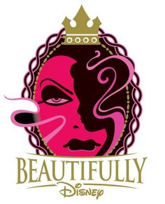 Logo for the new Beautifully Disney cosmetics line. I love the way the hair covering the face of the queen makes a silhouette of a princess. Outstanding artwork.
