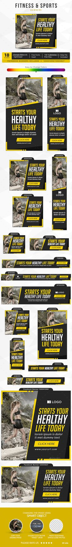 Fitness & Sports Banners Template #design #ads Download…