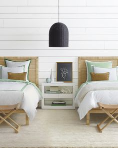 Bedroom ideas We love this simple bedroom with a rattan light pendant, glossy nightstand, rattan bed Coastal Bedrooms, Guest Bedrooms, Master Bedroom, Bedroom Decor, Twin Bedroom Ideas, Twin Bed Room, Two Twin Beds, Cottage Bedrooms, Coastal Bedding
