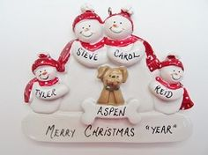 Personalized Snow Family of 4 Ornament with Tan Dog