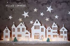 A Christmas village is actually essential in winter in the house . A Christmas village is actually essential in winter in the house . Look at 8 easy to make Christmas villages! Diy Christmas Lights, Noel Christmas, Christmas Paper, Winter Christmas, Christmas Decorations, Christmas Ornaments, Simple Christmas, Christmas Projects, Holiday Crafts