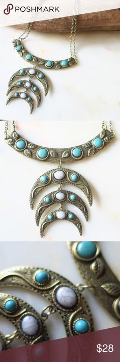 Garden Crescent Bib Necklace Beautiful Crescent Necklace! Burnish Gold ALL Hypoallergenic, Plated, Nickel and Lead Free! Synthetic Turquoise, carved vine and leaf design  Photos are of ACTUAL product! NWOT Boutique, packaged with care MoonMagicChic Jewelry Necklaces