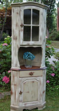 Hand Painted Corner Hutch-distressed, furniture,cottage, hand painted, corner hutch