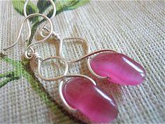 Pink Petal Earrings Silver wires Figure of Eight by JoJosgems, $15.00