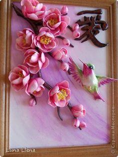 Картина панно рисунок Лепка Любовь на кончиках крыльев Тесто соленое фото 1