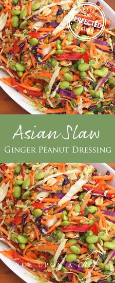 Asian Slaw with Ginger-Peanut Dressing--Dressing recipe looks good