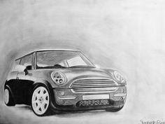 Drawing by Steef_xx, Car, Mini Cooper, Black & White - By Steef_xx