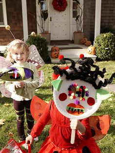 Face Off - Cut eyeholes in colored paper plates and let kids decorate their own mask.